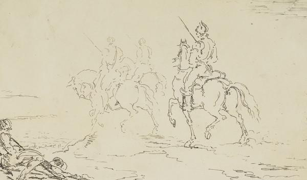 Three soldiers on horseback (1821)