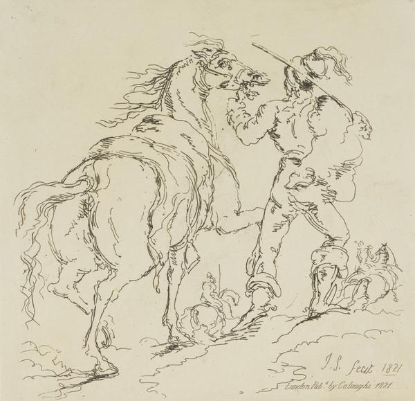 Soldier walking alongside a horse (1821)