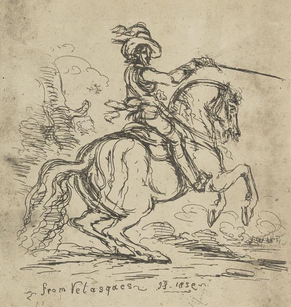 A man on horseback, after a work by Velasquez
