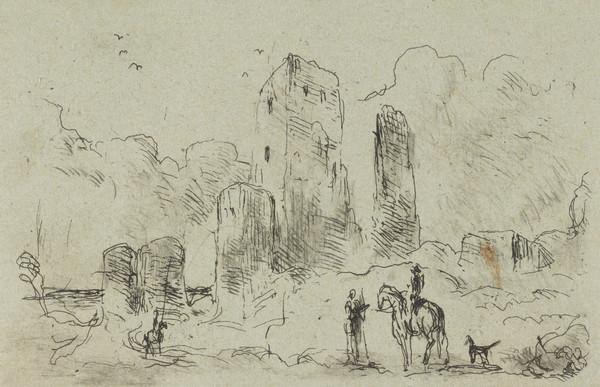 Figures and a horse by a ruin