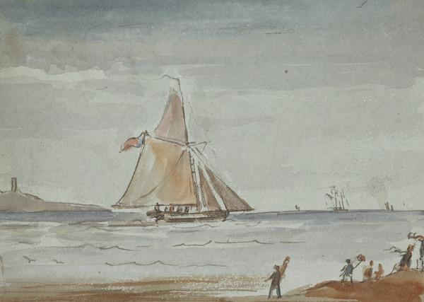 A sailing boat with figures standing on a shoreline