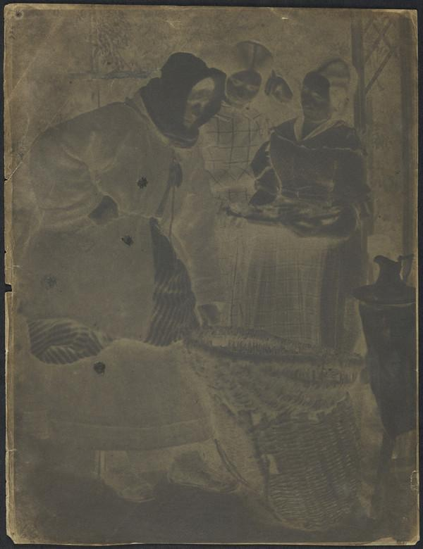 Mrs Barbara (Johnstone) Flucker and two unknown women looking at fish [Newhaven] (1843 - 1847)