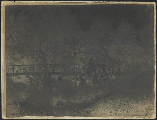 Burnside, Fife ? bridge over stream with six figures [Landscape] (1843 - 1847)