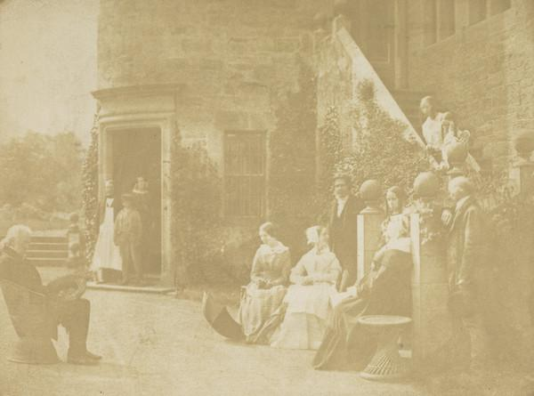 Group at Bonaly Towers. John Henning, unknown man, woman and boy in doorway, perhaps Miss Horner, perhaps Lady Lyell, David Octavius Hill, Miss... (1843 - 1847)