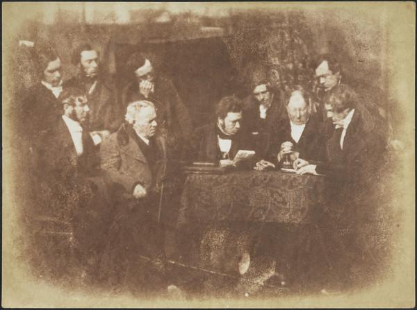 Dundee Presbytery. Unknown man standing, Rev. James Ewing seated, unknown man standing, Rev. James Miller seated, unknown man standing, Rev. Dr... (1843 - 1847)