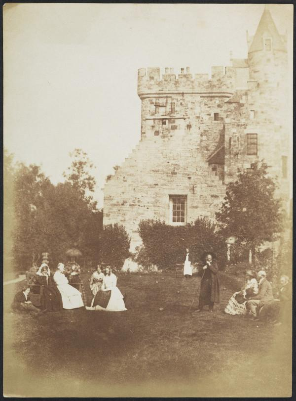 Bonaly Towers with David Octavius Hill, Mrs Cockburn, perhaps Lady Lyell, three unknown women, unknown man, John Henning, unknown woman, Lord... (1843 - 1847)