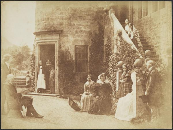 Group at Bonaly Towers. David Octavius Hill, John Henning, unknown man, woman and boy in doorway, perhaps Miss Horner, Mrs Cockburn, Miss... (1843 - 1847)