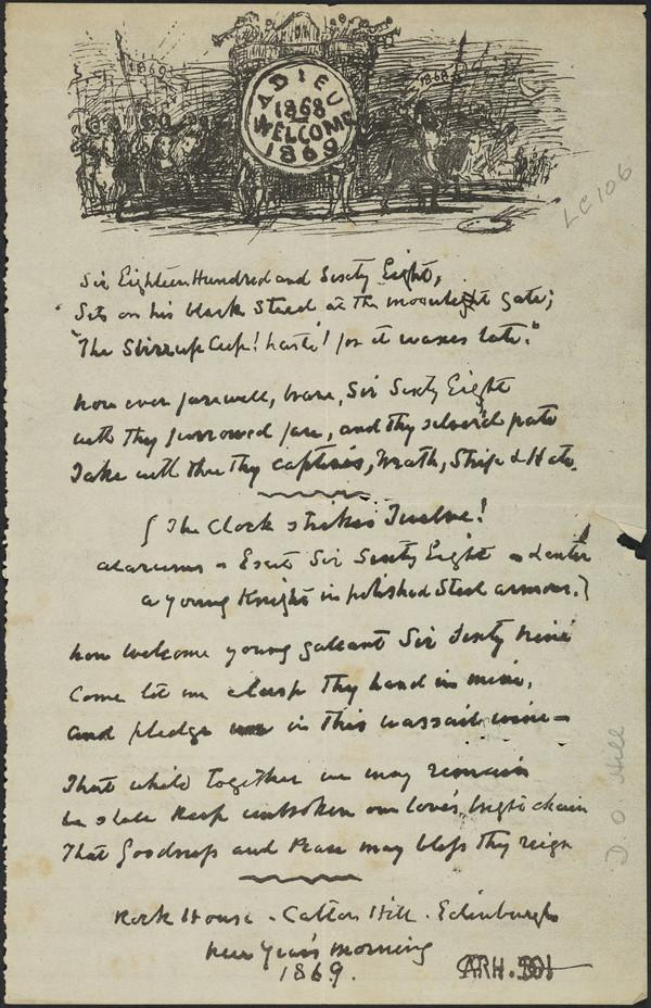 'Adieu 1868 Welcome 1869'. Sketch and poem in David Octavius Hill's handwriting (1 January 1869)