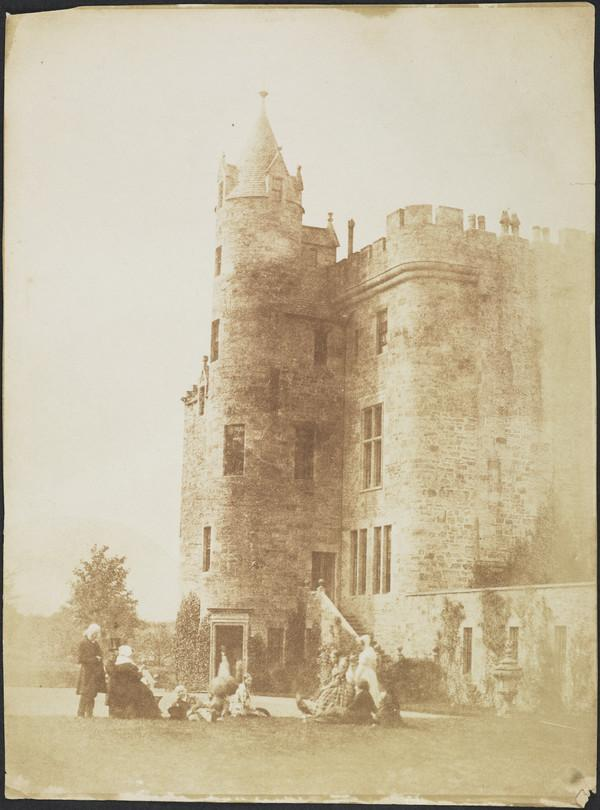 Group at Bonaly Towers with a group of ten including John Henning, Mrs Cockburn, Lord Cockburn, Mrs Cleghorn  and David Octavius Hill [Group 74] (1843 - 1847)