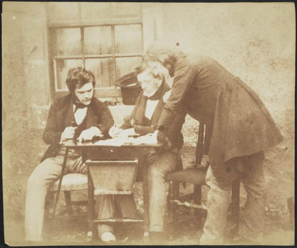 Dr George Bell, Peter Scott Fraser and David Octavius Hill grouped around a table [Group 32] (Probably 1843)