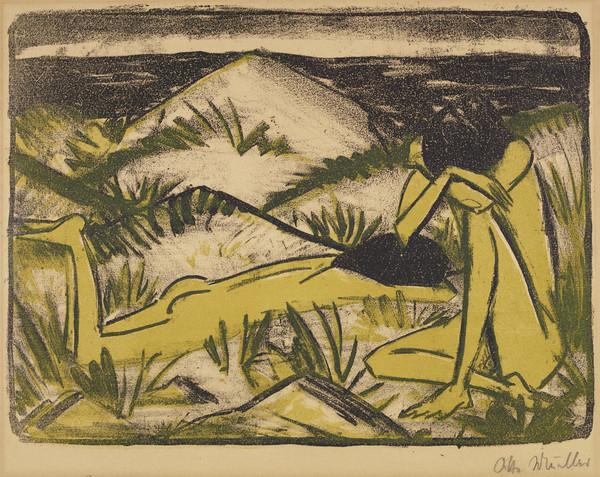 Ein in Dunen sitzendes, und ein liegendes Madchen [Two Nude Girls in a Sand Dune, One Sitting, One Lying] (About 1920 - 1924)