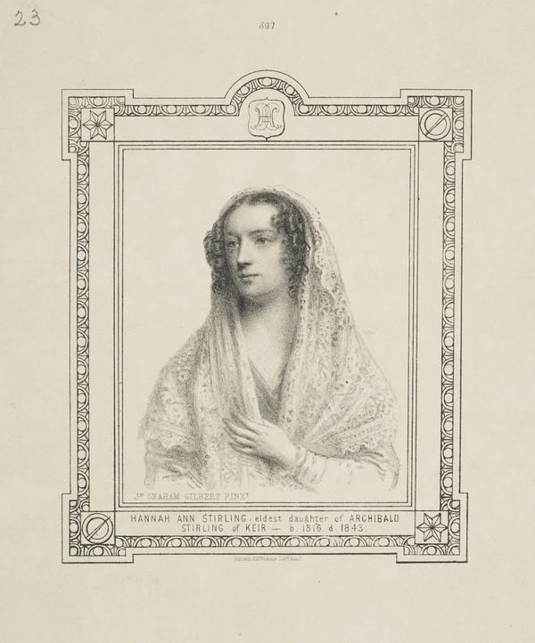 Hannah Ann Stirling, 1816 - 1843. Eldest daughter of Archibald Stirling of Keir
