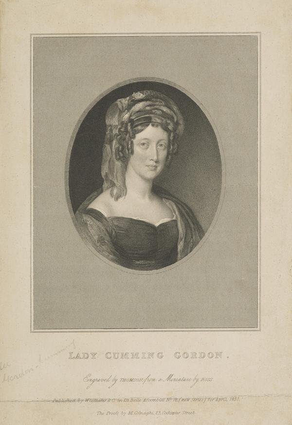 Eliza Maria (Campbell), d. 1842. Wife of Sir William Gordon-Cumming