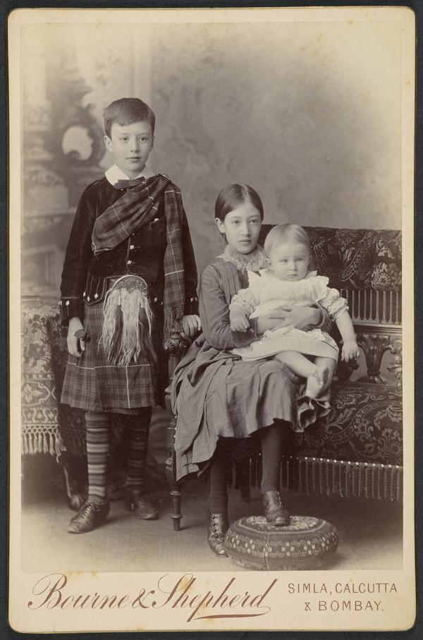 Young Boy in Highland Dress with his Sister Seated and a Baby on her Lap