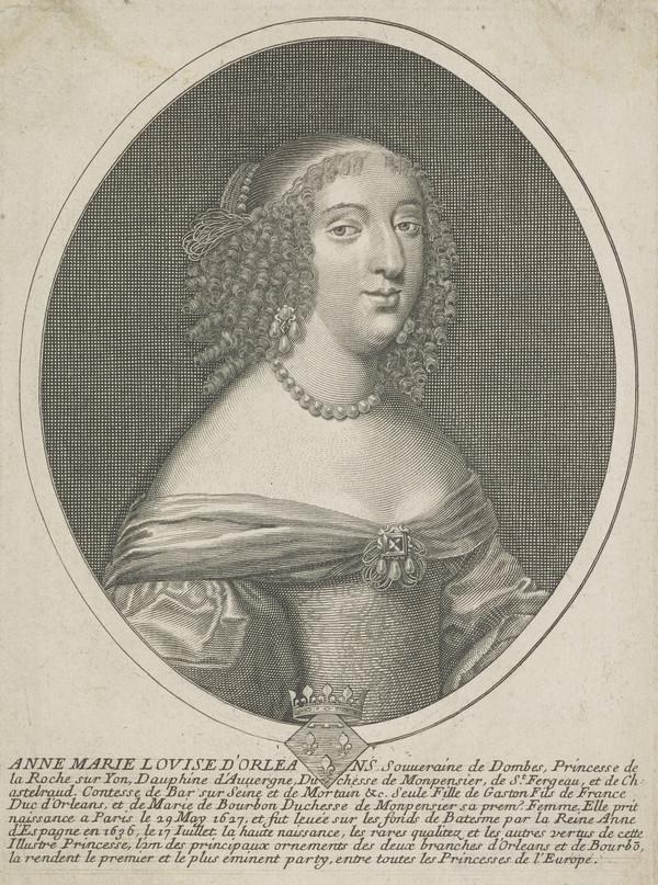 Anne Marie Louise d'Orleans, Duchesse de Montpensier, 1627 - 1693. Daughter of Gaston, Duc d'Orleans