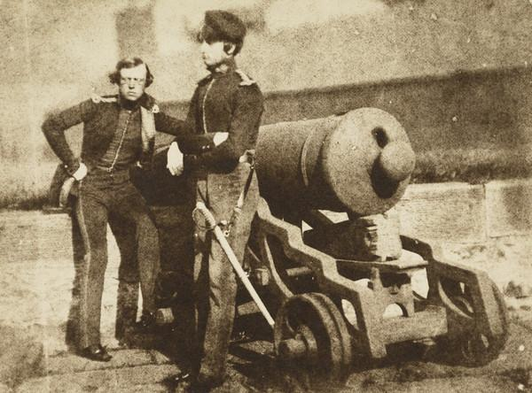 Two soldiers and a cannon