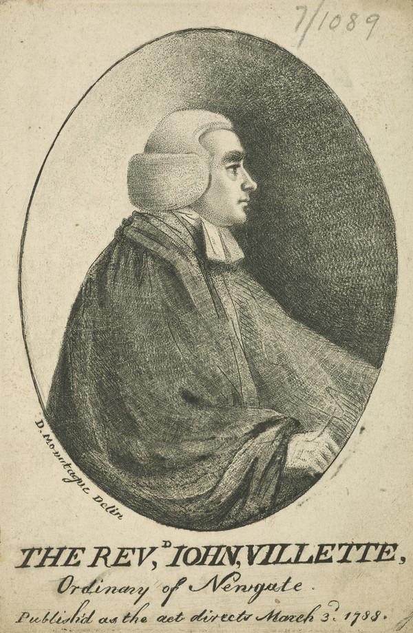 Rev. John Villette, active 1757 - died 1799.  Chaplain at Newgate Prison
