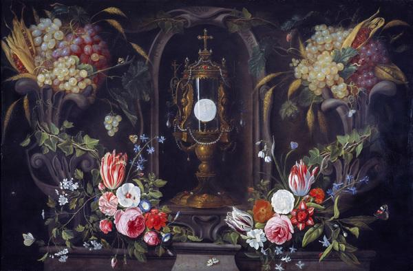 Still Life of Flowers and Grapes encircling a Monstrance in a Niche