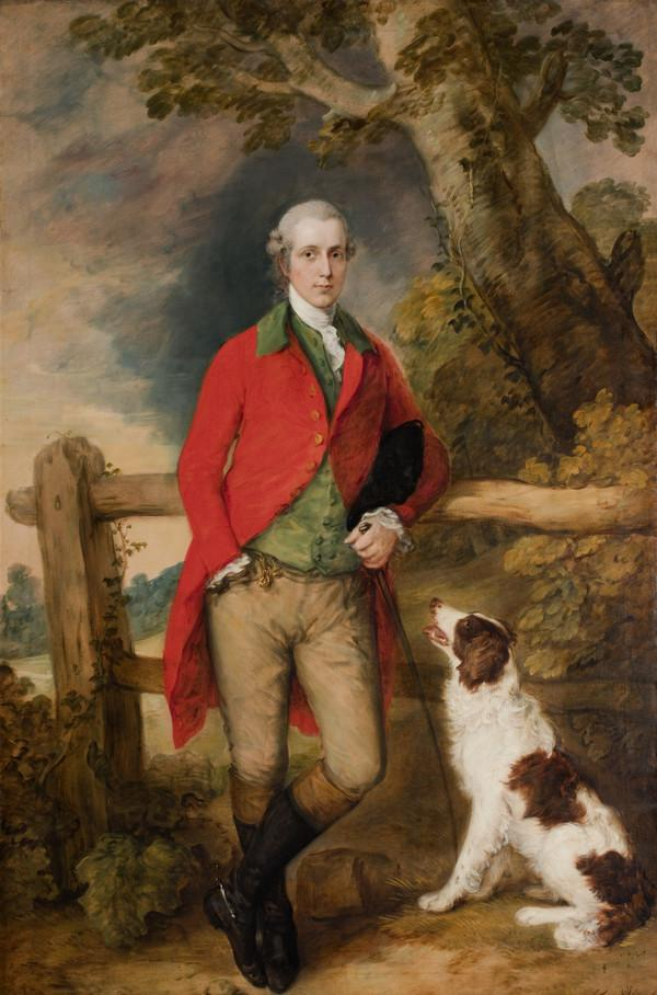 Portrait of Robert Thistlethwayte of Norman Court, standing full-length, wearing a red coat, green waistcoat and buff breaches, holding a can,...