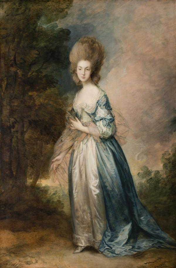 Portrait of Selina Thistlethwayte of Norman Court, full-length in blue and white dress