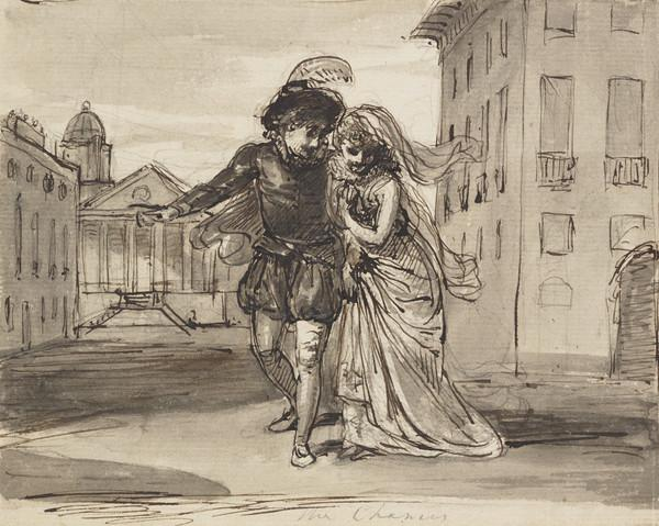 A Couple in Theatrical Clothes before a Cityscape
