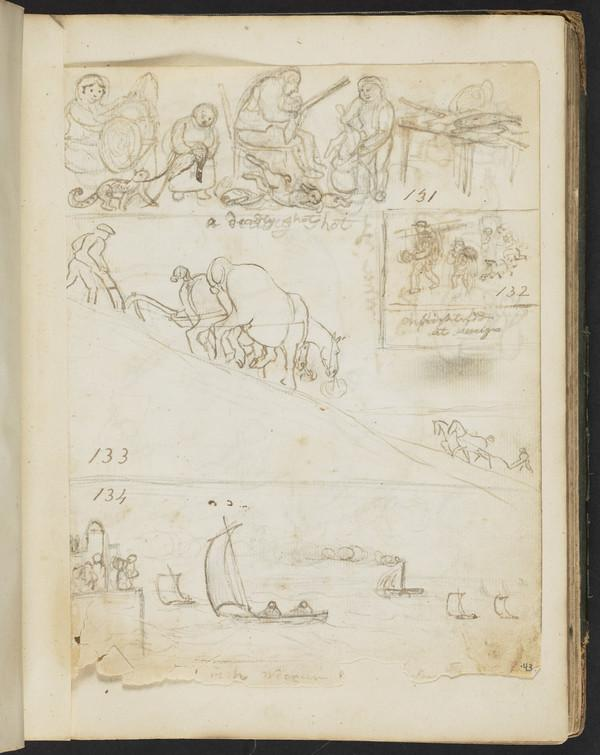 Four drawings: Group of figures with dead game, figures with dogs, men and horses ploughing, ships sailing
