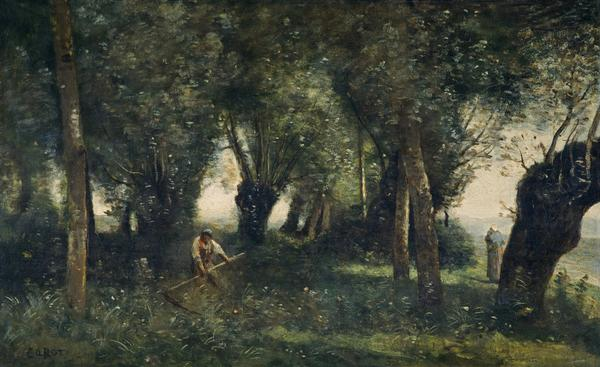A Man Scything by a Willow Grove, Artois (About 1855 - 1860)