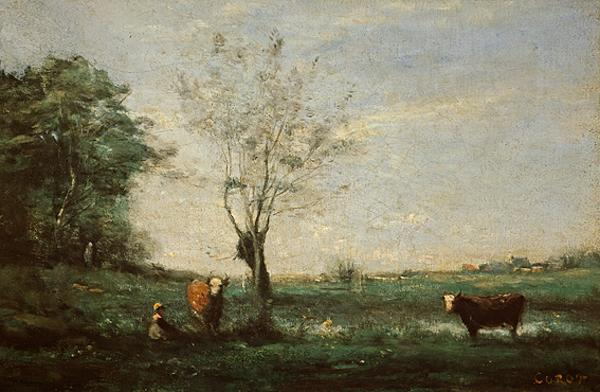 Landscape with Two Cows (1865 - 1900)