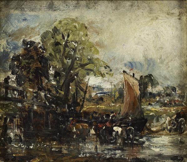 On the Stour (Reverse: Study of Cows) (About 1830)