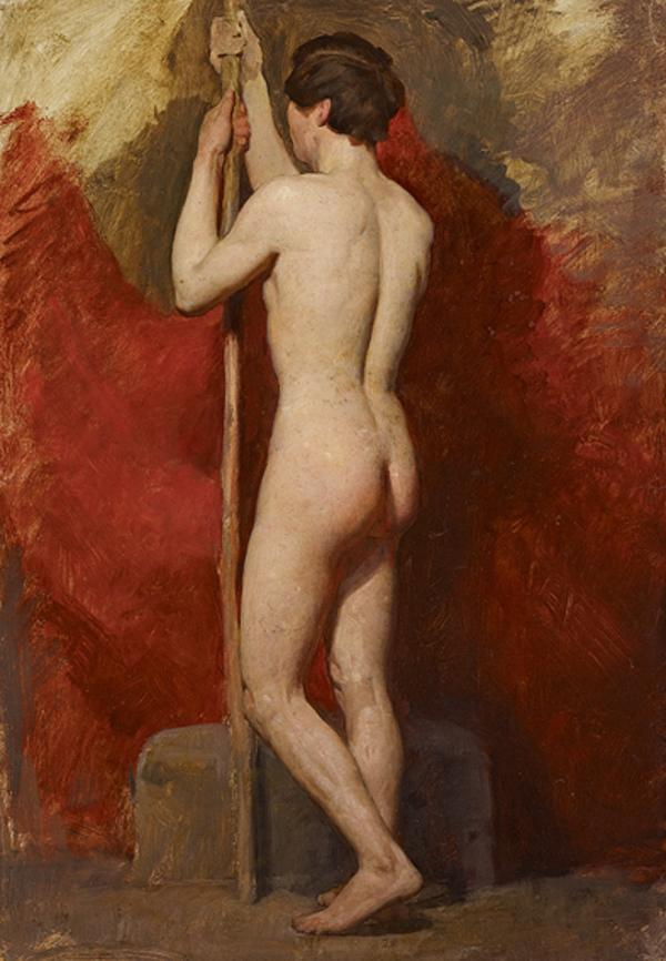 A Life Study of a Standing Nude Male Model (1850s)