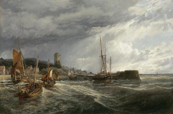 Fishing Boats Running Into Port: Dysart Harbour (1854)