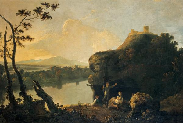 A River Scene with a Castle and Figures (About 1755)