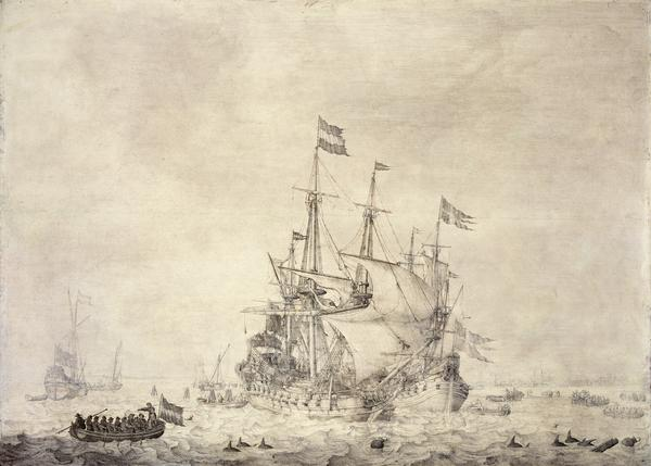 A Sea-piece with a Dutch Merchant Ship and a Swedish Flute (1650)