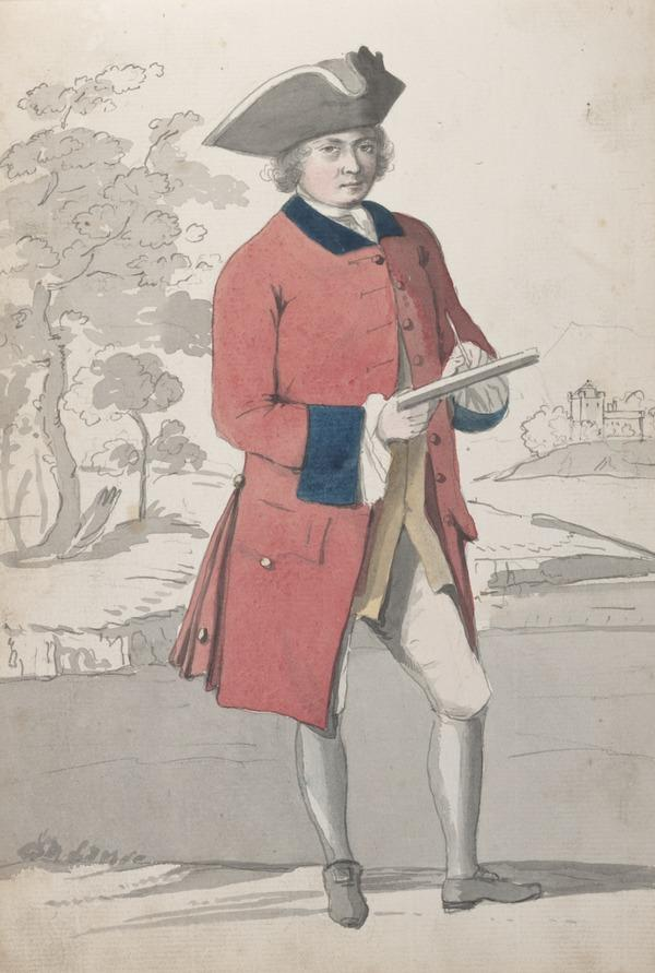 Sketchbook of Drawings Made in the Highlands: Portrait of a Young Man in Military Dress (About 1749)