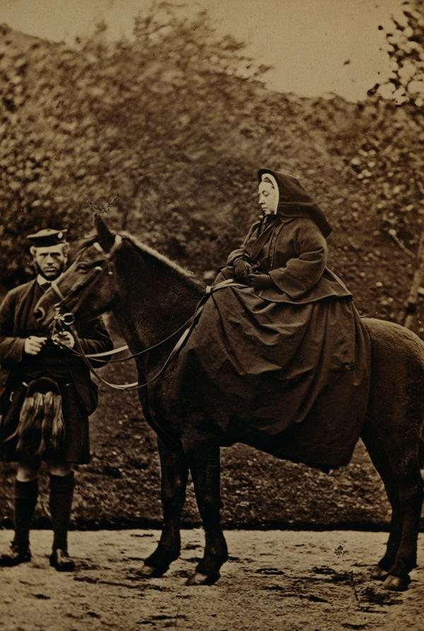 Queen Victoria on 'Fyvie' with John Brown at Balmoral (1863)