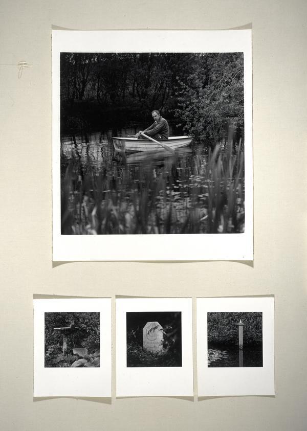 Ian Hamilton Finlay, b. 1925. Artist (Composite work, framed with three photographs of Stonypath, Finlay's garden) (June 1995)