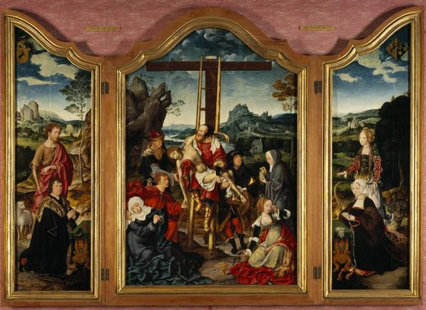 Triptych. Centre: the Deposition from the Cross; Left wing: St John the Baptist with a Donor; Right wing: St Margaret of Antioch with a Donatrix (1518 - 19)