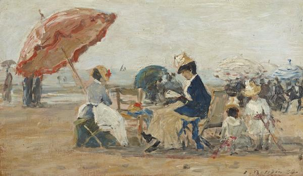 The Beach at Trouville (Dated 1884)