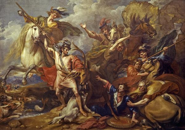 Alexander III of Scotland Rescued from the Fury of a Stag by the Intrepidity of Colin Fitzgerald ('The Death of the Stag') (1786)