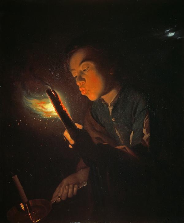 A Boy Blowing on a Firebrand to Light a Candle (About 1692 - 1698)