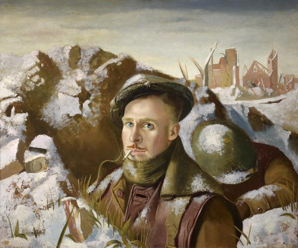 Robert Henderson Blyth, 1919 - 1970. (Self-portrait as soldier in trenches). Sub-titled 'Existence Precarious' (1946)