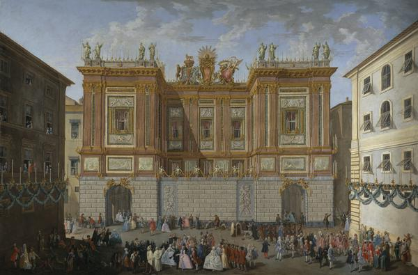 Prince James receiving his son, Prince Henry, in front of the Palazzo del Re (About 1747-1748)