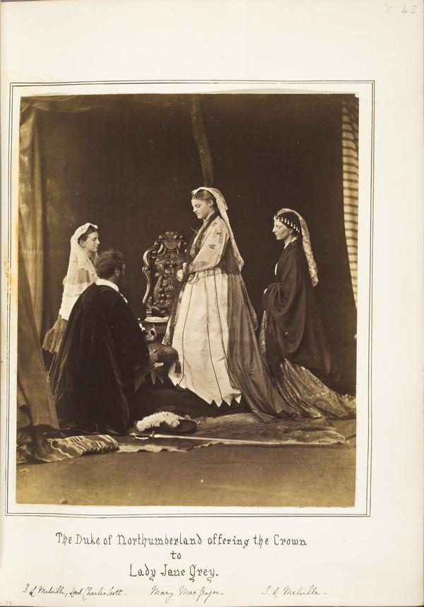 The Duke of Northumberland offering the Crown to Lady Jane Grey. Frances Leslie Melville, Lord Charles Scott, Mary MacGregor, Sophia L. Melville (1860 - 1870)