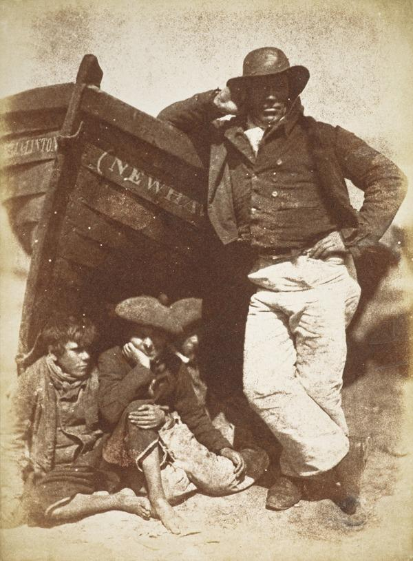 Sandy (or James) Linton, his boat and bairns [Newhaven 45] (About June 1845)