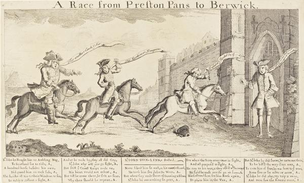 'A Race from Prestonpans to Berwick' (Sir John Cope, Brigadier-General Fowkes, Colonel Lascelles and Lord Mark Kerr) (After 21 September 1745)
