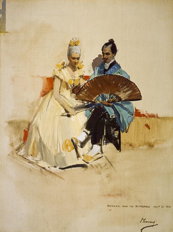 Edward Arthur Walton, 1860 - 1922. Artist. With his fiancée Helen Law, 1859 – 1945 (Hokusai and the Butterfly)