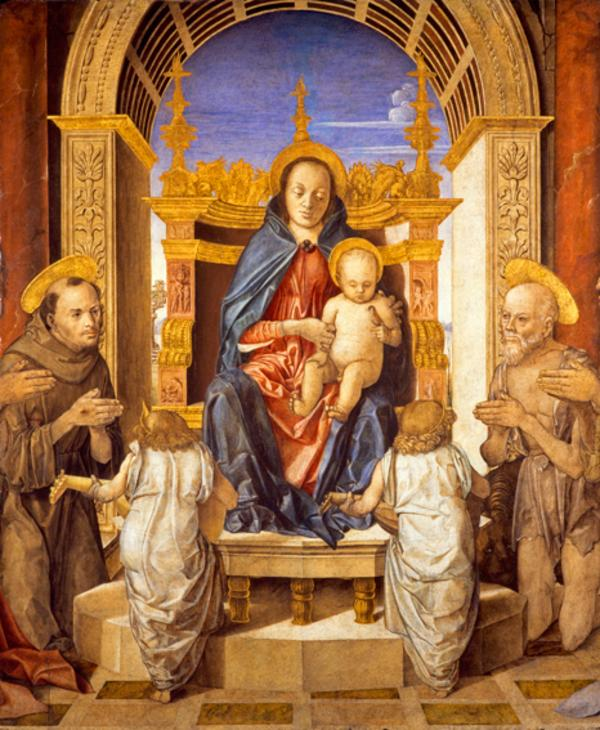 The Virgin and Child with Saint Francis, Saint Jerome and Two Angels (15th century)