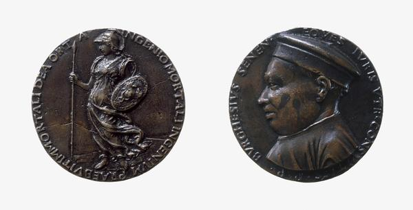Borghese Borghesi (1441 - 1490), Jurisconsult of Siena (Reverse: Minerva Holding Shield and Lance) (About 1479)