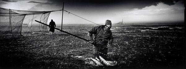A netter hauling fish back to shore through a hailstorm at Kinnaber, Angus (2000)