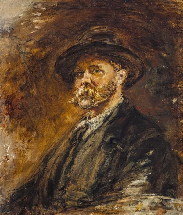A Study of Oak Leaves in Autumn (Self-portrait) (Dated 1892)